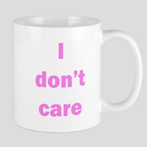 """I don't care"" mug, purple lettering"