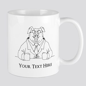 Pig in Suit. Custom Text Mug