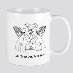 Flying Pig in Suit. Custom. Mug