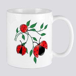 Delicate Ladybugs on Graceful Leaves Mug