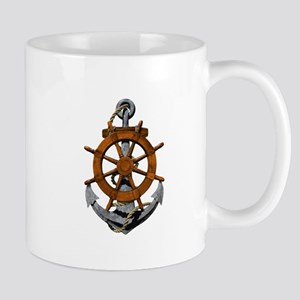 Ship Wheel And Anchor Mugs