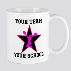 Custom pink and black cheerleading Mugs