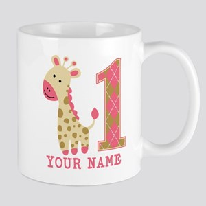 Pink Giraffe First Birthday - Personalized Mug