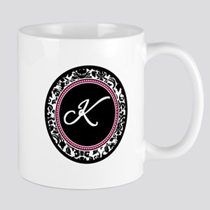 Letter K girly black monogram Mugs