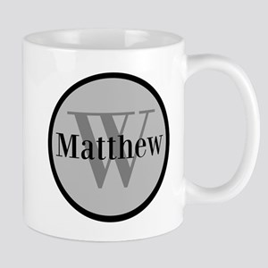 Gray Name and Initial Monogram Mugs