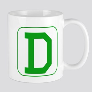 Green Block Letter D Mugs