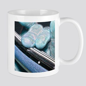 two fingers bass sparkle blue Mugs
