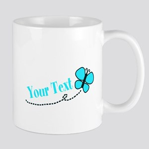 Personalizable Teal and Black Butterfly Mugs