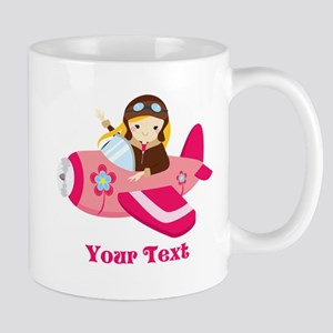 Pink Airplane, Girl Pilot with flowers Travel Mugs
