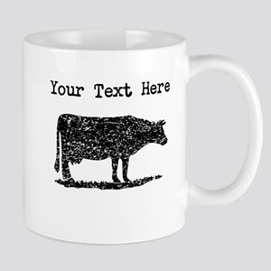 Distressed Cow Silhouette (Custom) Mugs