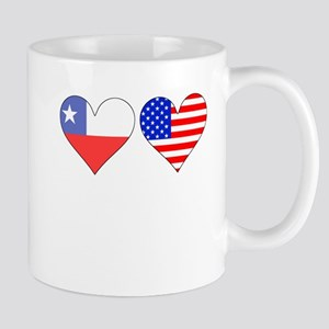 Chilean American Hearts Mugs