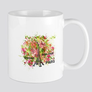 eiffel tower bonjour green rose colors Mugs