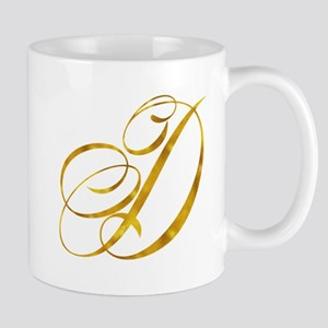 Monogram D Gold Faux Foil Monograms Metallic Mugs
