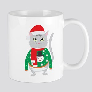 The isolated cute cat wearing a silly winter Mugs