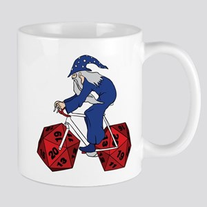 Wizard Riding Bike With 20 Sided Dice Wheels Mugs