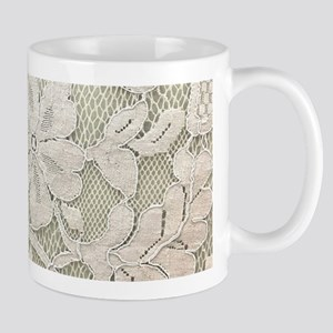 shabby chic white lace Mugs