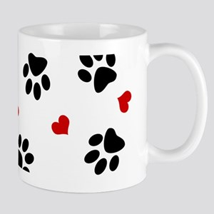Paw Prints and Hearts Mugs