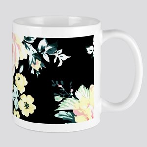 watercolor peony black floral Mugs