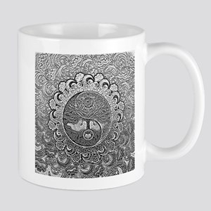Shiny Metallic Tree of Life Yin Yang Mugs