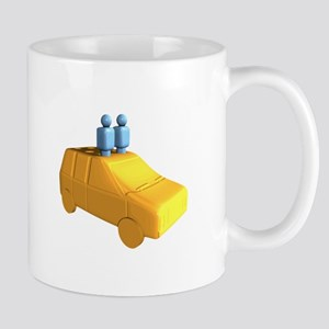 Blue Peg People in a Car Mugs