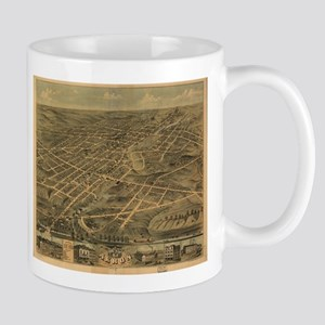 Vintage Pictorial Map of Akron Ohio (1870) Mugs