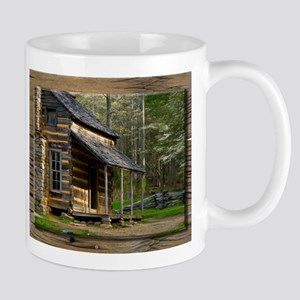 Cabin on Wood Mugs