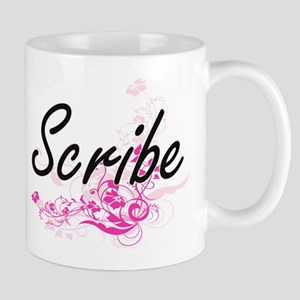Scribe Artistic Job Design with Flowers Mugs
