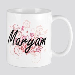 Maryam Artistic Name Design with Flowers Mugs