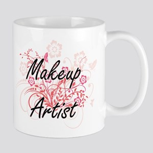 Makeup Artist Artistic Job Design with Flower Mugs