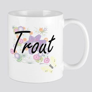 Trout artistic design with flowers Mugs