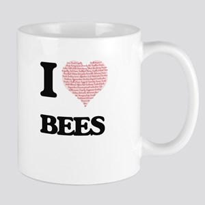 I love Bees (Heart Made from Words) Mugs