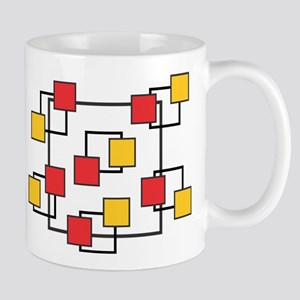 Red and Yellow Squares Mugs