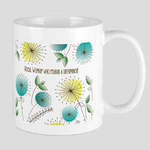 Social Worker Floral Art Mugs