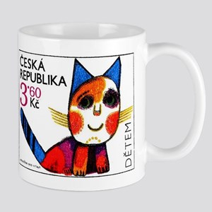 1995 Czech Republic Cat Drawing Postage Stamp Mug