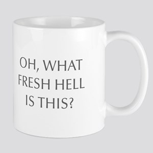 Oh what fresh hell is this-Opt gray Mugs