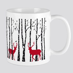 Christmas deers in birch tree forest Mug