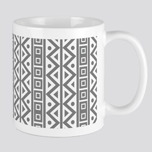 Retro Vintage Style White Grey Geometric Pattern M