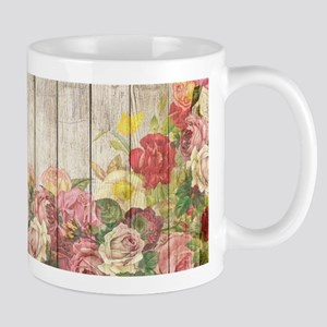 Vintage Rustic Romantic Roses Wood Mugs