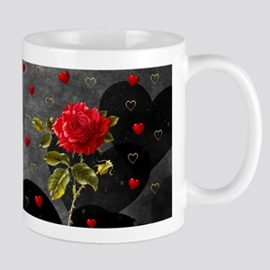 Red Rose Black Hearts 11 oz Ceramic Mug