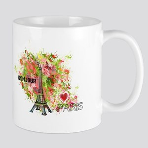 EIFFEL TOWER BONJOUR PARIS Mugs