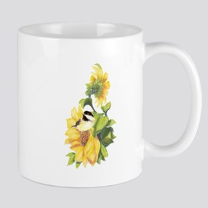 Chickadee Bird & Sunflower flower Watercolor Mugs