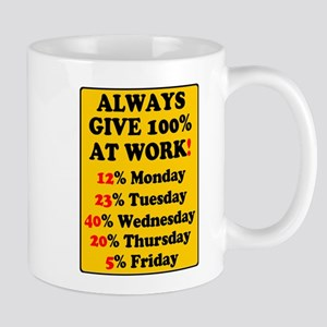 YELLOW SIGN - ALWAYS GIVE 100% AT WORK Mugs