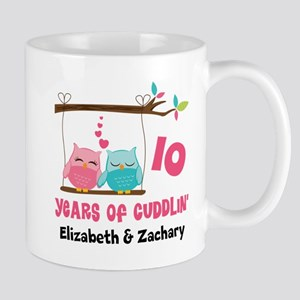 10th Anniversary 10 Years Owls Personalized Mugs