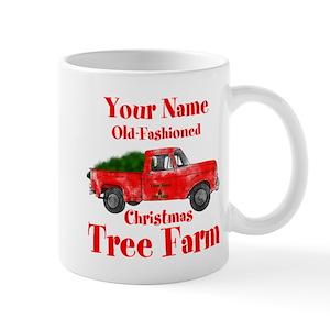 Old Red Truck With Christmas Tree In Back.Custom Tree Farm Mug
