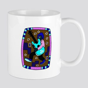 male carrying 5 string bass blue graphic Mugs