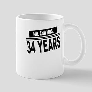 34th Wedding Anniversary. Mr. And Mrs. 34 Years Mugs