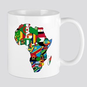 Flag Map of Africa Mugs