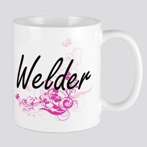 Welder Artistic Job Design with Flowers Mugs