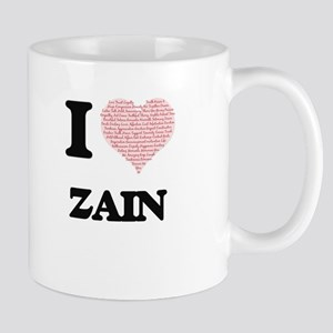 I Love Zain (Heart Made from Love words) Mugs