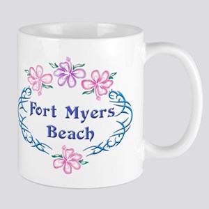 Fort Myers Beach: Flower Oval Mug